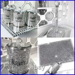 TEA COFFEE SUGAR JARS CRUSHED CRYSTAL Crush Kitchen Quad Superset Set off 4