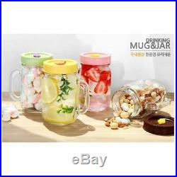 The Glass Glass Drinking Jars with Handle and Lids, 15 Ounce, Set of 4
