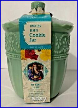 The Pioneer Woman Timeless Beauty Green Jade 9.8 Glass Cookie Jar