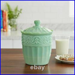 The Pioneer Woman Timeless Beauty Green Jade 9.8 Glass Cookie Jar Vintage Style