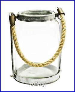 Thompson & Elm Glass Jar Lantern with Rope Handle, Large