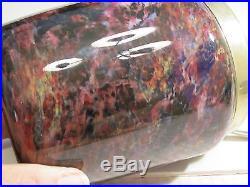 Unique Old Antique Purple Spatter Art Glass Handled Biscuit Cracker Jar