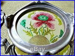 VAL ST. LAMBERT HAND PAINTED ANTIQUE DECORATED BISCUIT JAR withFANCY PEWTER HANDLE