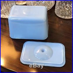 VHTF McKee Delphite Poudre Blue 4 X 6 Knob Handled Refrigerator Dish Box Jar