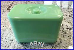 VHTF McKee Jadeite Jadite Green 4 X 6 Knob Handled Refrigerator Dish Box Jar
