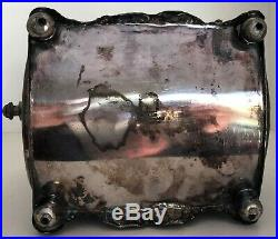 VICTORIAN SILVER PLATE or EPNS ORNATE DROP HANDLE BISCUIT BARREL/COOKIE JAR EXC
