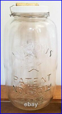 VINTAGE 14 MASONS PATENT NOV 30TH 1858 EAGLE STAR CLEAR LARGE JAR handle withlid