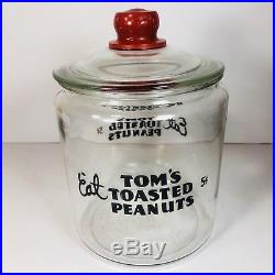 VINTAGE Eat Toms TOASTED PEANUTS 5c GLASS JAR withGLASS LID Red TOMs Handle