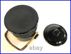 VINTAGE FENTON ART GLASS BLACK AMETHYST BIG COOKIES MACAROON JAR With LID + HANDLE