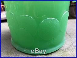 VINTAGE FENTON JADE GREEN JADITE JADEITE BIG COOKIES JAR CANISTER With LID HANDLE