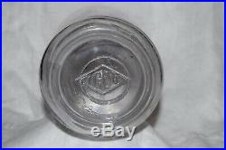 VINTAGE GLASS JUG JAR with WIRE WOODEN BAIL HANDLE 1926 ILLINOIS GLASS CO