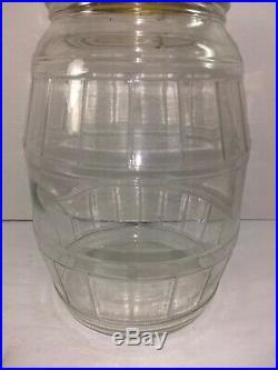 VINTAGE LG OLD GLASS BARREL SHAPED JAR WithLID and Metal HANDLE Peanut Butter JAR