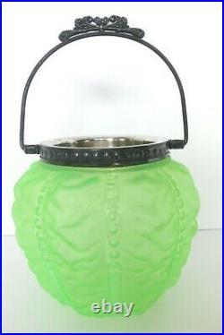 VINTAGE LIME GREEN GLASS BISCUIT JAR BASKET POT With METAL HANDLE