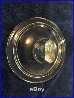 VINTAGE PLANTERS MR PEANUT 5 CENT OCTAGONAL GLASS JAR With PEANUT HANDLE TOP LID