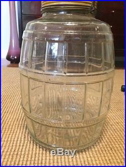Vintage Glass Barrel Style General Store Pickle Candy Jar
