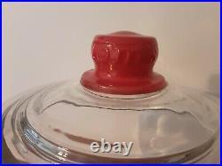 VTG 40s Toms Toasted Peanuts Glass Jar Lid Red Embossed Handle Store Display