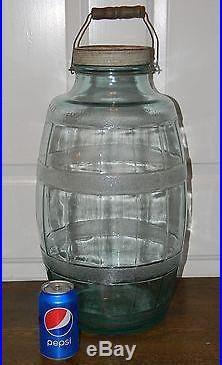 Vtg Aqua Blue Large 5 Gallon Glass Barrel Pickle Jar Owens Illinois Bail Handle