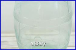 VTG Aqua Blue 1932 5 Gallon Glass Barrel Pickle Jar OWENS ILLINOIS Bail Handle
