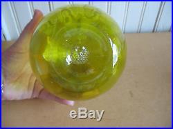 VTG BLOWN GLASS PONTIL JUG BOTTLE JAR APPLIED HANDLE GREEN Vaseline glass
