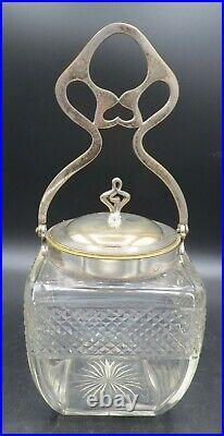 VTG Biscuit Barrel/Jar Lg Handled Glass withSilver Plated Rim & Lid EXC