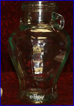 VTG Huge Large Green Glass Apothecary Canister Candy Cookie Jar Urn Handled