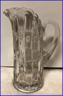 VTG Very Heavy Floral Pressed Victorian Style Crystal Glass Jar, Pitcher