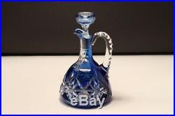 Val Saint Lambert Blue white cut crystal decanter, jar with handle taillé riche