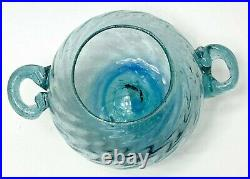 Venetian Twin Handled Lidded Teal Jar with Controlled Bubbles 2nd half 20th C