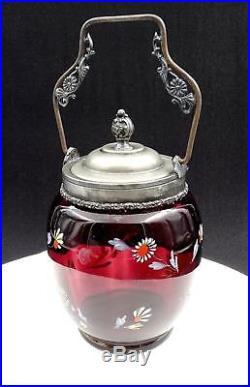 Victorian Amethyst Glass Enamel Floral Pewter Handled 10 1/4 Biscuit Barrel