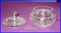 Victorian Antique 1868 Sterling Silver Handle Hand Cut Glass Bon Bon Jar