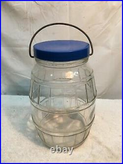 Vintage/ 10in LARGE Glass Barrel Style General Store PICKLE JAR Wire Handle Lid