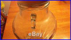 Vintage 12 tall Decorative Glass Jar with handles Wooden Lid