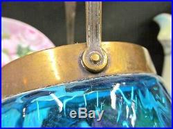 Vintage 1920s blue glass & metal large biscuit holder tea caddy brass handle