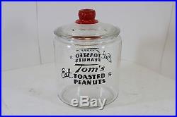Vintage 1930s Tom's Roasted Peanuts 5c Glass Jar with Red Embossed Lid Handle