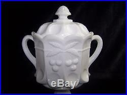 Vintage 1950's Westmoreland Milk Glass Large Handled Pedestal Cookie Jar