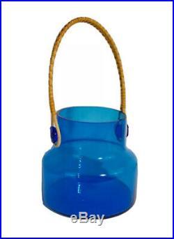 Vintage 1960s Takahashi Clear Blue Glass Cork Jar with Rattan Handle