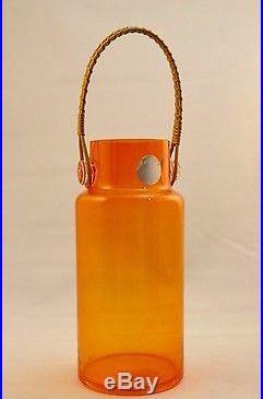 Vintage 1960s Takahashi Clear Orange Glass Cork Jar with Rattan Handle
