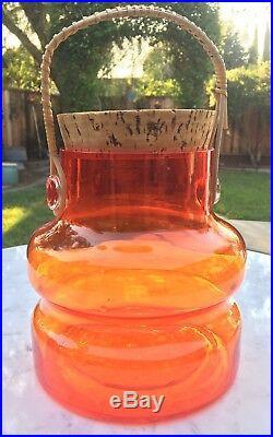 Vintage 1960s Takahashi Large Clear Orange Glass Cork Jar with Rattan Handle