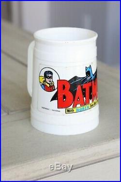 Vintage 1966 BATMAN and ROBIN Drinking Glass Mug Milk Cookie Jar Handle white