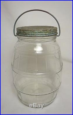 Vintage 1 Gallon Glass Barrel Pickle Jar with Metal Screw Top Lid & Bale Handle