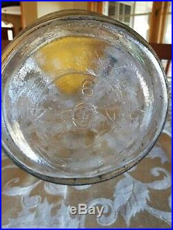 Vintage 3 gallon Duraglas Glass Pickle Barrel Jar with Handle & Lid