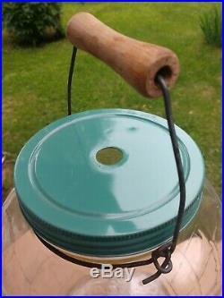 Vintage 3 gallon Glass Pickle Barrel Jar with Handle & Lid
