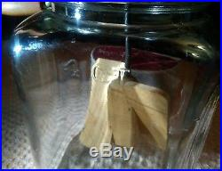 Vintage 4 Qt Glass Jar Butter Churn w Wooden Handle & Paddles Intact 12H