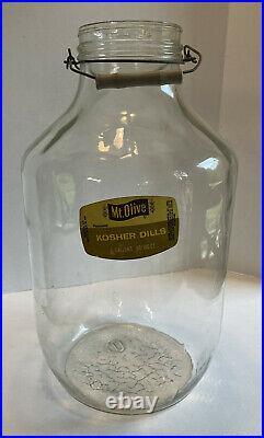 Vintage 5 Gallon Glass Bottle Jug Change Mt. Olive Pickle Jar 18 tall with handle