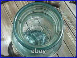 Vintage 5 Gallon Glass Wide Mouth Pickle Jar Water Bottle Lid & handle Green