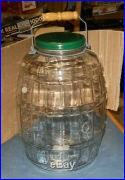 Vintage Anchor Hocking Glass Pickle Jar Green LID Bail Handle With Wood 15 USA