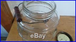 Vintage Armour's Star glass jar, container bail handle original lid