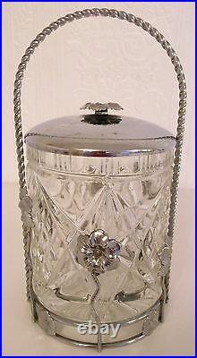 Vintage Art Deco Style Glass Storage Bon Bon Jar Metal Chrome Floral LID Handle