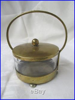 Vintage Art Deco WMF Brass & Glass Vanity Jar XO I/O with handle 4 ball feet