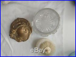 Vintage Art Nouveau Gold Tone Powder Vanity Jar Heavy Glass Base Floral Handle